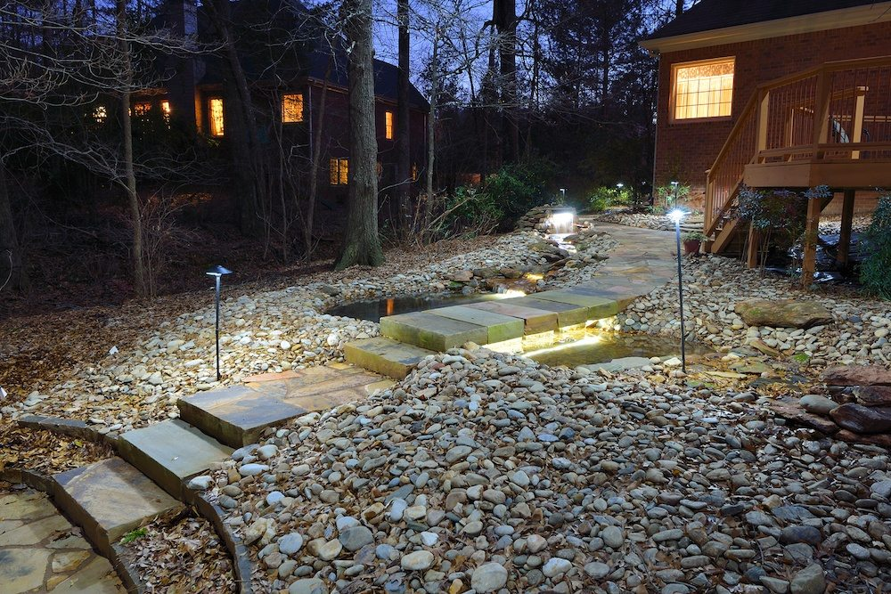 Pathway lights in backyard